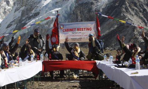 Image: Nepal's Cabinet meets on Mount Everest