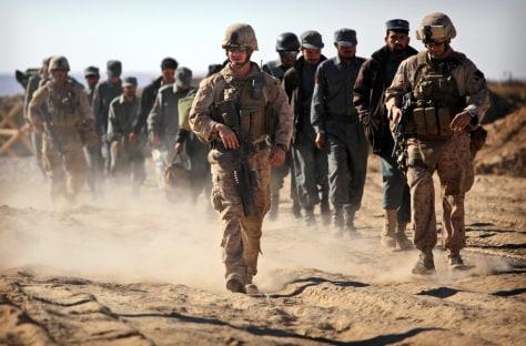 Image: Marines escort Afghan police