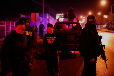 Image: Police at a crime scene in Ciudad Juarez, Mexico