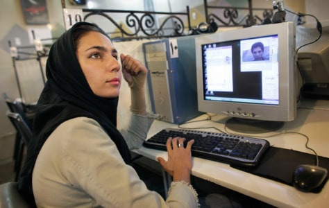 Image: Iranian woman using the internet