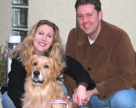 Image: Rachel Yould with her husband and dog