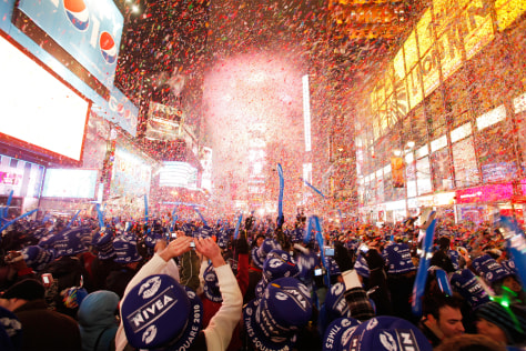 Image: Revelers ring in 2010 in New York