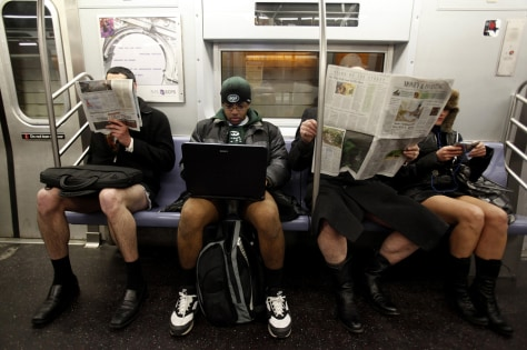Image: Participants in NYC's No Pants Subway Ride