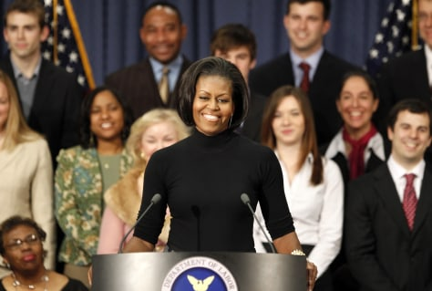 Image: US first lady Michelle Obama speaks at the Department of Labor in Washington