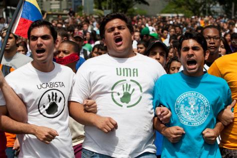 Image: Protesters in Caracas, Venezuela