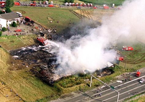 Image: Air France Concorde plane crash scene
