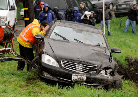 Image: Charlie Sheen's wrecked Mercedes