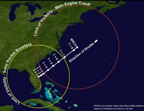 Image: Map of visibility for space shuttle's last night flight