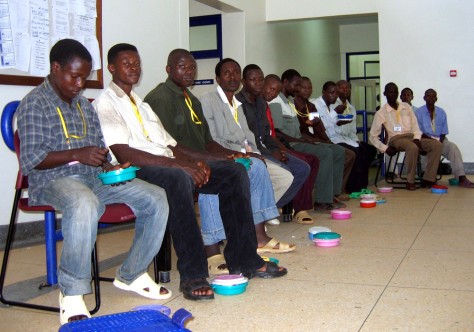 Image: men wait to be circumcised