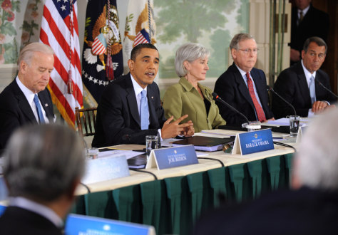 Image: President Obama delivers remarks to healthcare reform meeting.