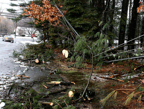 Image: Fallen trees hang on utility wires in East Derry, N.H.