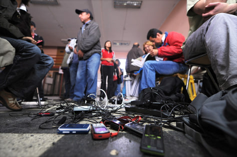 Image: Waiting to charge cell phones