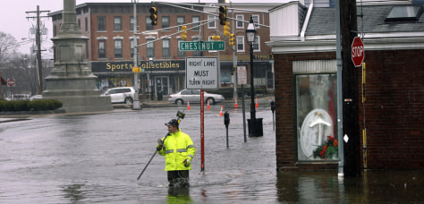 Image: Flooded street in Peabody, Mass.