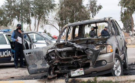 Image: Burnt SUV found on the outskirts of Ciudad Juarez
