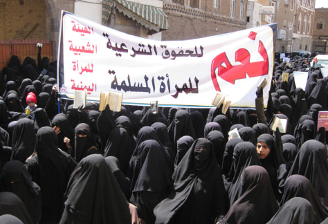 Image: Women protest in Yemen