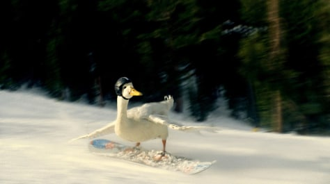 Image: AFLAC duck skiing