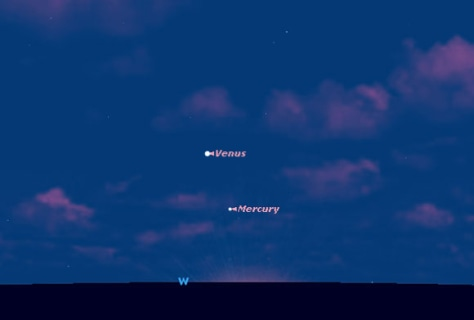 Image: Sky Map of Venus and Mercury