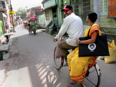 Image: An Indian census taker heads home