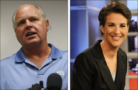 Image: Rush Limbaugh, left; Rachel Maddow, right