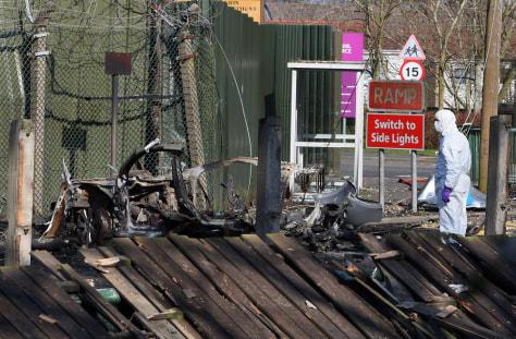 Image: Bomb damage at a British army base