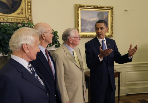 Image: Barack Obama, Neil Armstrong, Michael Collins, Buzz Aldrin