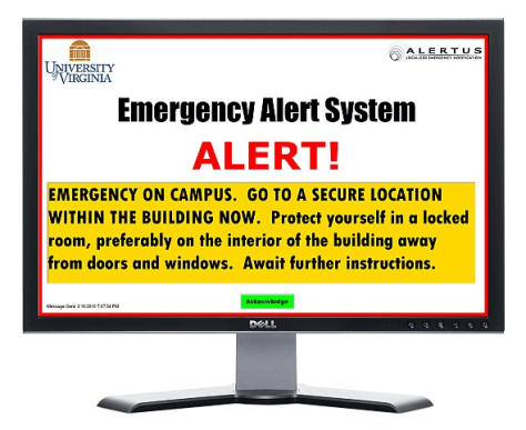 Image: College computer desktop emergency alert