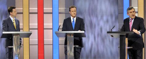Image: Nick Clegg, David Cameron and Gordon Brown