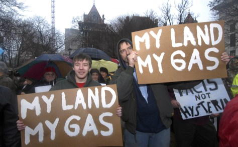 Image: Pro-drilling supporters at N.Y. Capitol