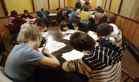 Image: Students from England study at the Mountain Inn in Killington, Vt.,