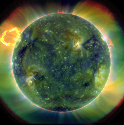 Image: A full-disk multiwavelength extreme ultraviolet image of the sun