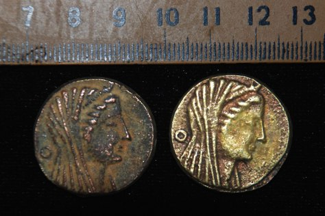 Image: Two coins dating back to the era of Ptolemy III 222-246 BC, discovered in an Egyptian oasis
