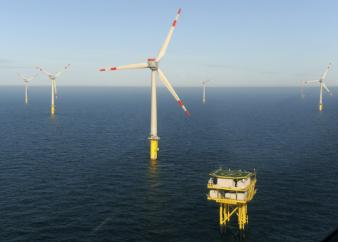 Image: An aerial view of the offshore wind farm