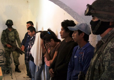 Image: Alleged gang members in Cuernavaca, Mexico