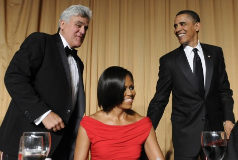 Image: Jay Leno, Michelle Obama and Barack Obama
