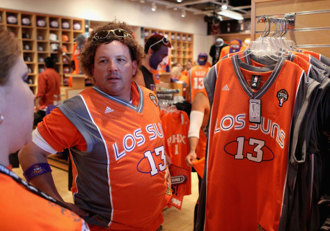 Image: Fan with 'Los Suns' uniform