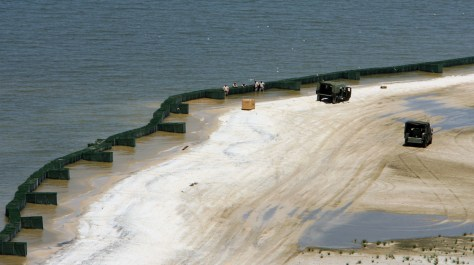 Image: Hesco containers along the beaches of Dauphin Island, Ala.