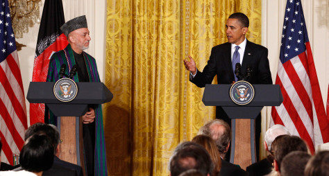 Image: U.S. President Obama and Afghan President Karzai make statements during a joint news conference in the East Room at the White House in Washington