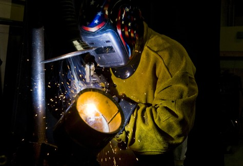 Image: Travis Wainscott welds