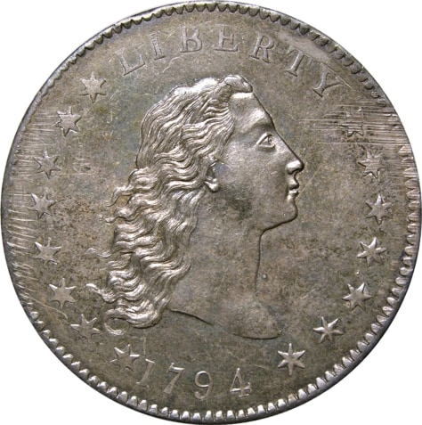 Image: 1794-dated U.S. silver dollar