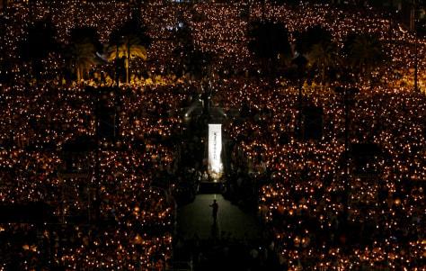 Image: Candlelight vigil at Hong Kong's Victoria Park