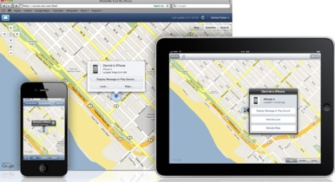 Image: Find My iPhone app shown on iPhone and iPad