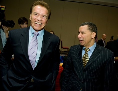 Image: California Gov. Arnold Schwarzenegger, left, and New York Gov. David Paterson