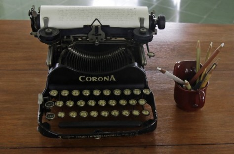 Image: A typewriter is pictured on a table in a room of the home of late U.S. Nobel Prize-winning author Ernest Hemingway at Finca Vigia in Havana