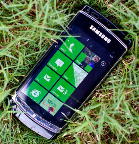 Image: Windows Phone 7 demo phone in grass