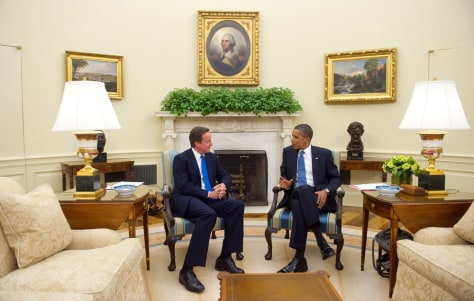 Image: US President Barack Obama meets with British Prime Minister David Cameron in