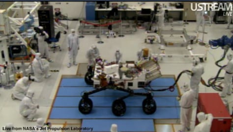 Image: Six-wheeled Mars rover Curiosity in a clean room