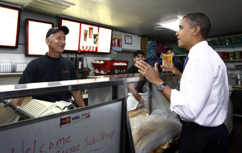 Image: Obama visits a sub sandwich shop in Edison, New Jersey
