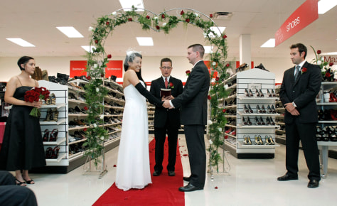 Image: Lisa Satayut and Drew Ellis at their T.J. Maxx wedding
