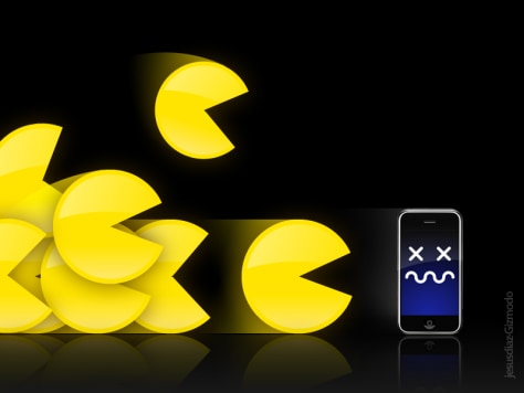 Image: Photoillustration of iPhone being attacked by multiple Pac-Mans