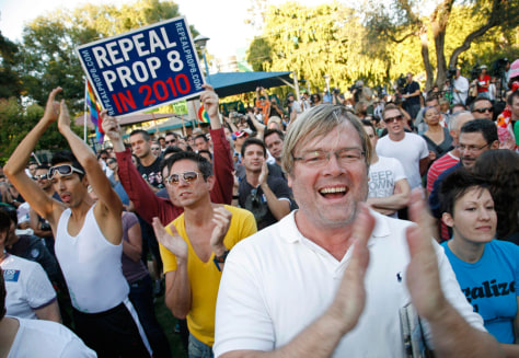 Gay marriage supporters rally after Proposition 8 ruling in California